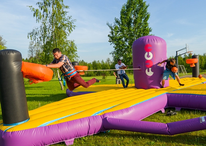 The new and very attractive entertainment – inflatables for grown-ups were presented.